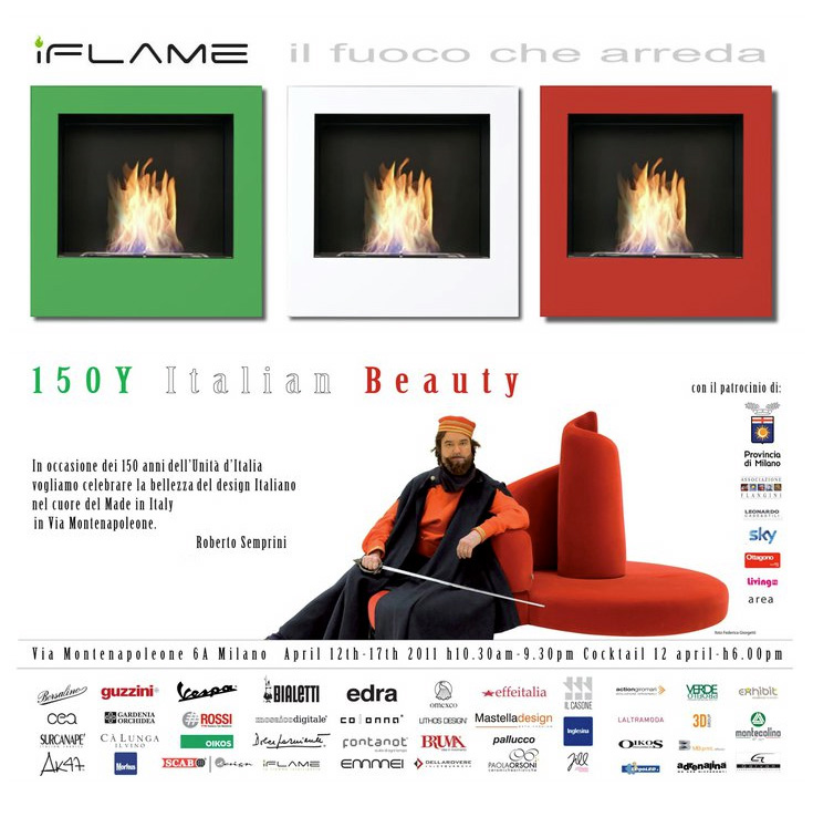 "iFlame ha il piacere di invitarvi in occasione del Salone Internazione del Mobile di Milano all'evento ""150Y ITALIAN BEAUTY"" by Arch. Roberto Semprini."